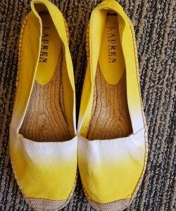 RL Lemon Yellow Canvas Espadrilles Slip Ons